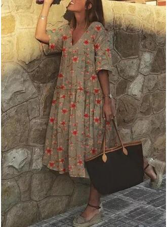 Print/Floral Short Sleeves Shift Casual/Vacation Midi Dresses