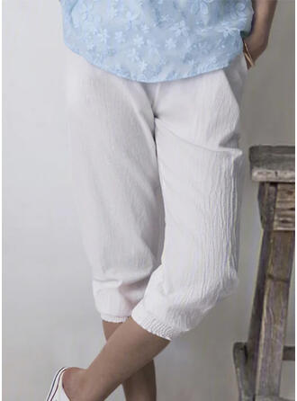 Pockets Shirred midi Casual Sporty Pants
