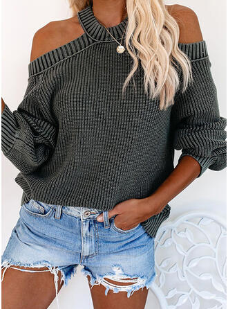Solid Ribbed Cold Shoulder Sweaters