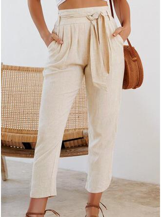 Shirred Drawstring Bowknot Cropped Casual Plain Pants