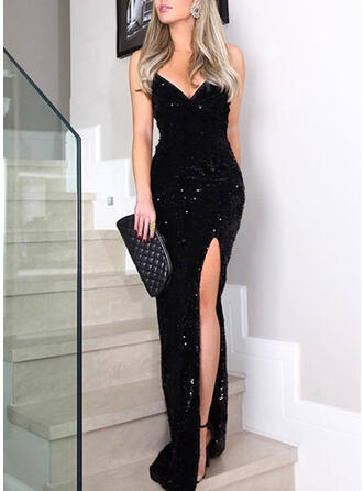 Sequins Sleeveless Sheath Slip Little Black/Party Maxi Dresses