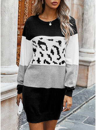 Color Block Leopard Round Neck Casual Long Sweater Dress