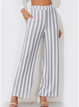 Striped Shirred Long Elegant Sexy Solid Plain Pants