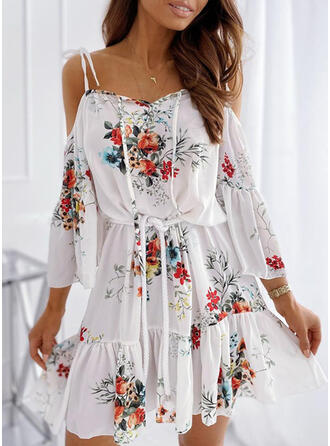Print/Floral 3/4 Sleeves/Cold Shoulder Sleeve A-line Above Knee Casual/Vacation Dresses