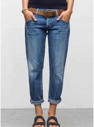 Pockets Shirred Cropped Casual Plain Denim & Jeans
