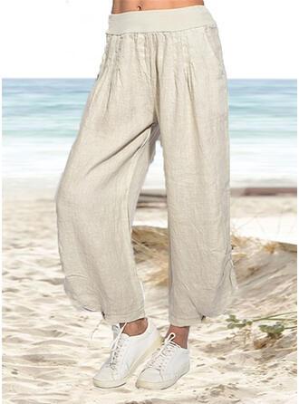 Pockets Shirred Plus Size midi Casual Solid Plain Pants