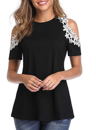 Patchwork Lace Cold Shoulder Short Sleeves Casual Blouses