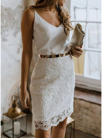 Lace/Solid Sleeveless Bodycon Above Knee Party/Elegant Dresses