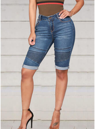 Striped Patchwork Above Knee Casual Sexy Shorts Denim & Jeans