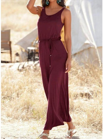 Solid Sleeveless A-line Little Black/Casual/Vacation Maxi Dresses