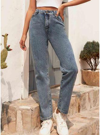 Pockets Shirred Long Casual Plain Denim & Jeans