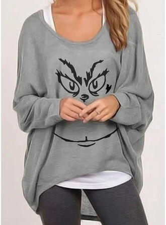 Print Round Neck Batwing Sleeve Casual Christmas T-shirts