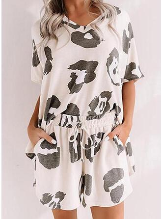 Polyester Spandex Plus Size Round Neck Short Sleeves Leopard Pyjama Set