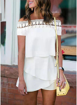 Lace Solid Off the Shoulder Short Sleeves Casual Romper