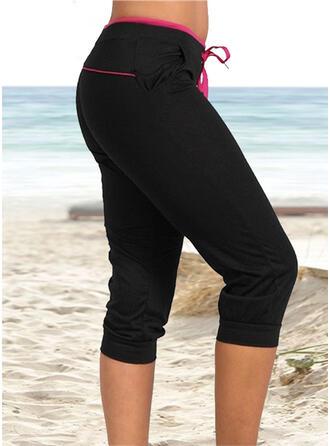 Pockets Shirred Plus Size midi Casual Sporty Pants