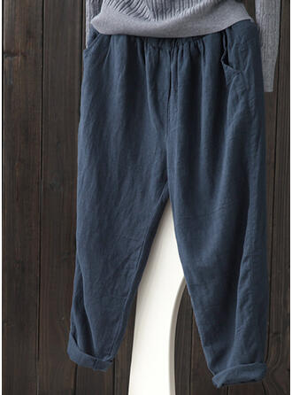 Pockets Shirred Plus Size midi Casual Solid Pants