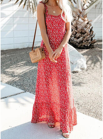 Print Sleeveless A-line Casual/Vacation Maxi Dresses