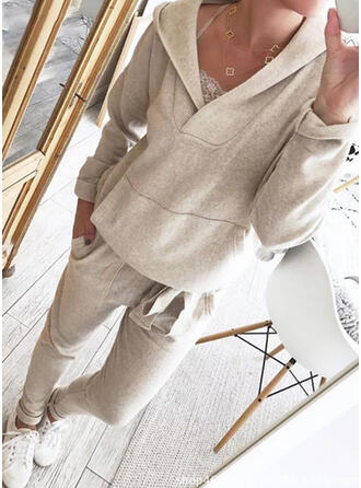 Solid Plus Size Drawstring Casual Plain Stretchy Suits