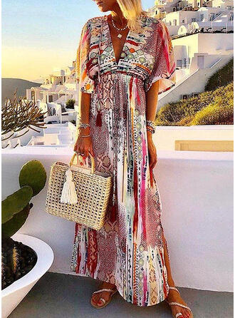 Print 1/2 Sleeves A-line Casual/Boho/Vacation Maxi Dresses