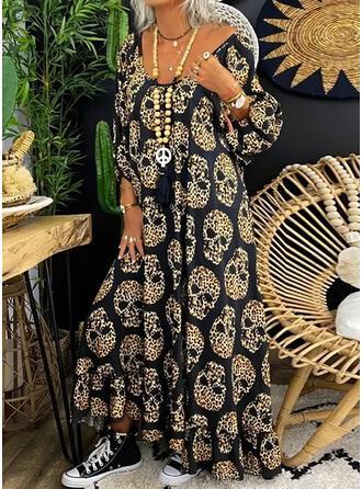 Print/Leopard Long Sleeves Shift Casual/Vacation Maxi Dresses