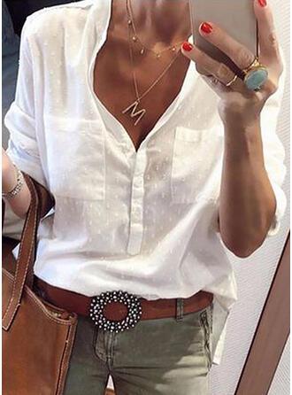 PolkaDot V-Neck Long Sleeves Casual Knit Shirt Blouses