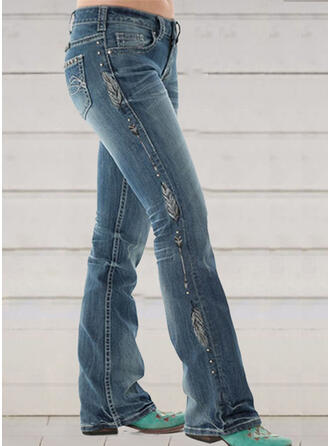 Print Shirred Plus Size Long Elegant Skinny Denim & Jeans
