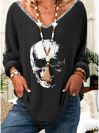 Print Sequins V-Neck Long Sleeves Casual T-shirts