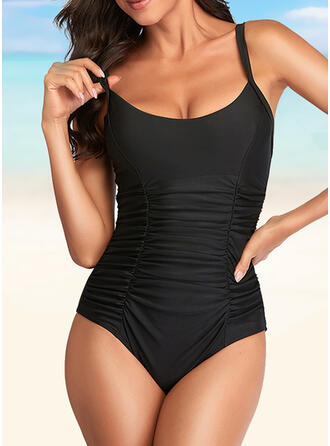 Solid Color String Ruffles U-Neck Elegant Casual One-piece Swimsuits