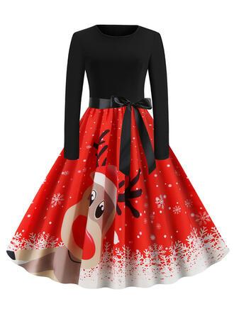 Print/Animal Print Long Sleeves A-line Knee Length Vintage/Christmas/Party/Elegant Dresses