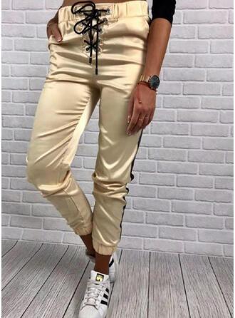 Shirred Drawstring Long Casual Sporty Pants