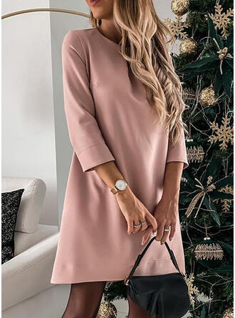 Solid 3/4 Sleeves Shift Above Knee Little Black/Elegant Tunic Dresses