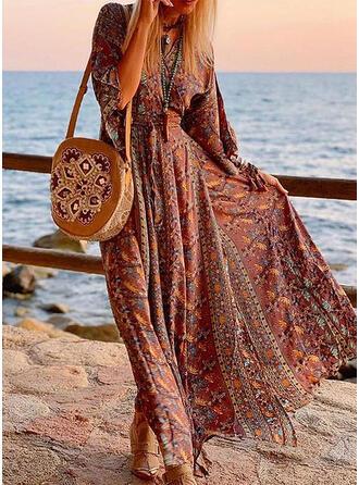 Print 3/4 Sleeves A-line Casual/Boho/Vacation Maxi Dresses