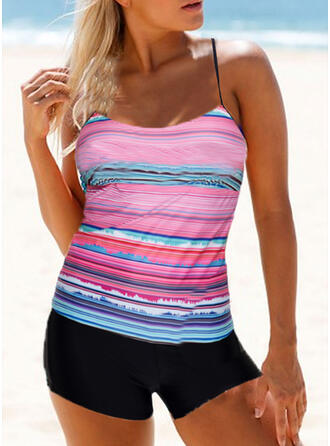 Stripe Splice color Quick Dry Strap U-Neck Sports Plus Size Casual Tankinis Swimsuits