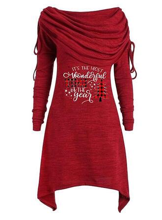 Print/Plaid Long Sleeves Sheath Above Knee Christmas/Casual Dresses