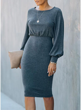 Solid Long Sleeves/Lantern Sleeve Bodycon Knee Length Sexy Pencil Dresses