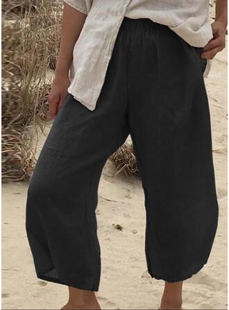 Solid Shirred midi Casual Solid Plain Pants