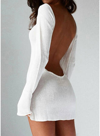Solid Long Sleeves Bodycon Above Knee Sexy Sweater Dresses