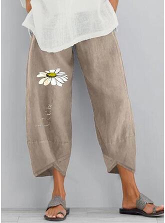 Print Pockets Shirred Plus Size midi Boho Casual Floral Pants