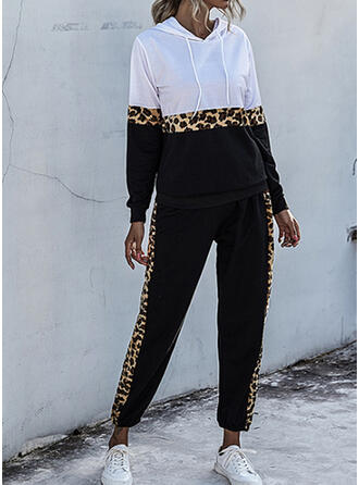 Patchwork Leopard Drawstring Casual Sporty Suits