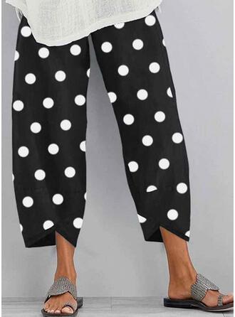 PolkaDot Shirred Plus Size midi Boho Casual Print Pants