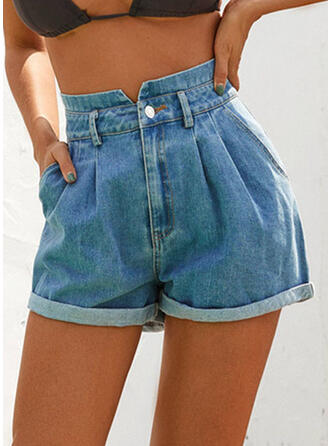 Pockets Shirred Above Knee Casual Sexy Denim Shorts