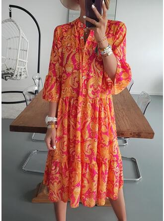 Print 3/4 Sleeves/Flare Sleeves Shift Tunic Casual/Boho/Vacation Midi Dresses