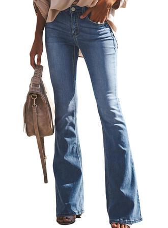 Pockets Shirred Long Elegant Sexy Skinny Denim & Jeans