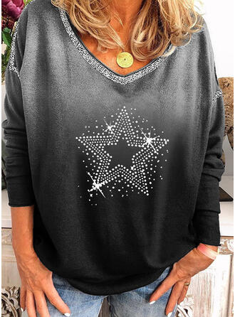Sequins Gradient V-Neck Long Sleeves Casual T-shirts