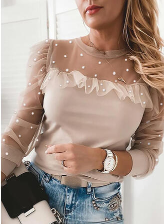 Solid Beaded Round Neck Long Sleeves Elegant Blouses