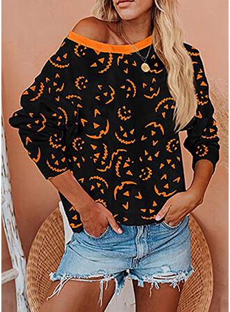 Print Halloween Round Neck Long Sleeves Christmas Sweatshirt