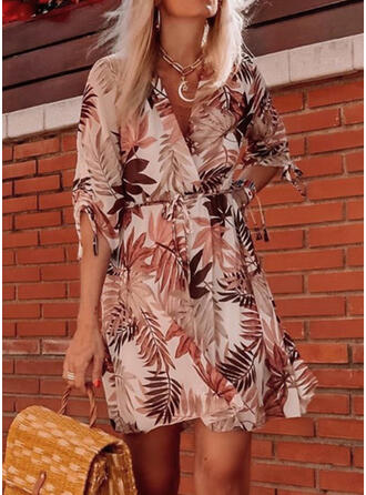 Print 1/2 Sleeves A-line Above Knee Casual/Vacation Wrap/Skater Dresses
