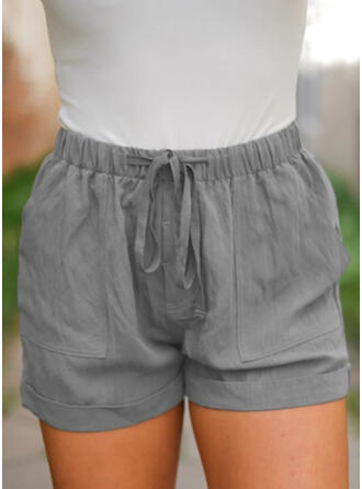 Solid Pockets Plus Size Above Knee Boho Casual Shorts