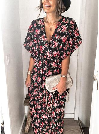 Print/Floral Short Sleeves Sheath Casual Maxi Dresses