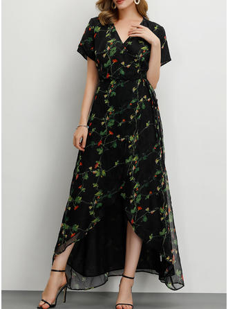 Print/Floral Short Sleeves A-line Casual/Party/Elegant Maxi Dresses